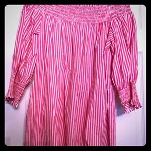 Tops - Hot pink and white striped shirt